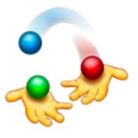 Manos jugando con pelotas de colores. Foto:vía emojipedia.org