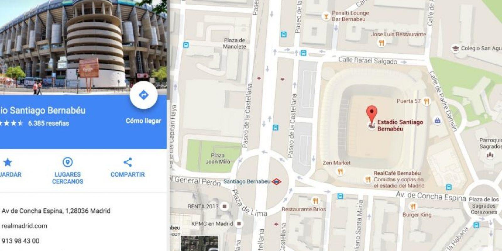 """Escribir """"comepipas"""" redirige al Santiago Bernabéu. Foto:Vía Google Maps"""