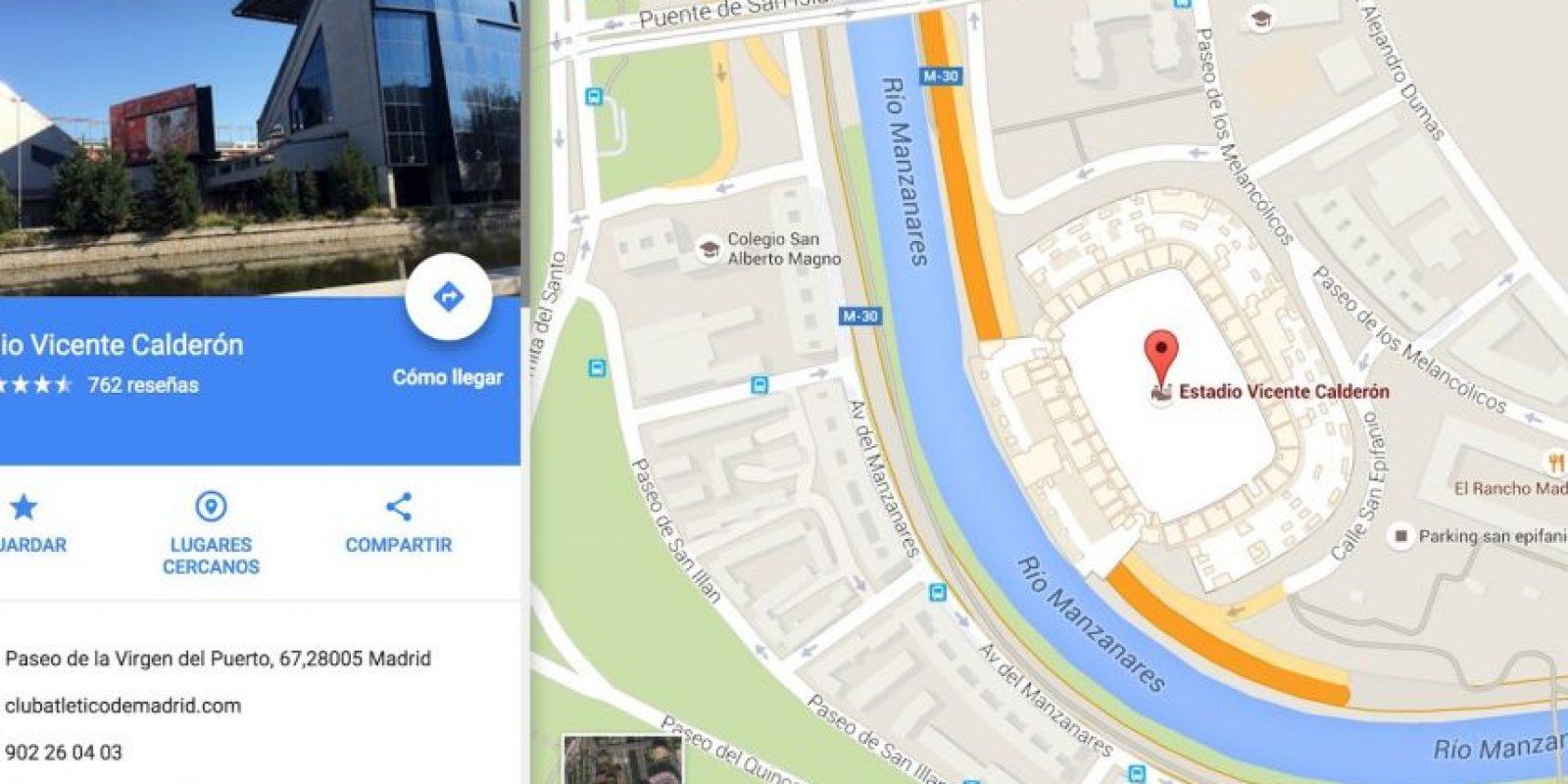 """""""Corazón y coraje"""" manda al Vicente Calderón. Foto:Vía Google Maps"""