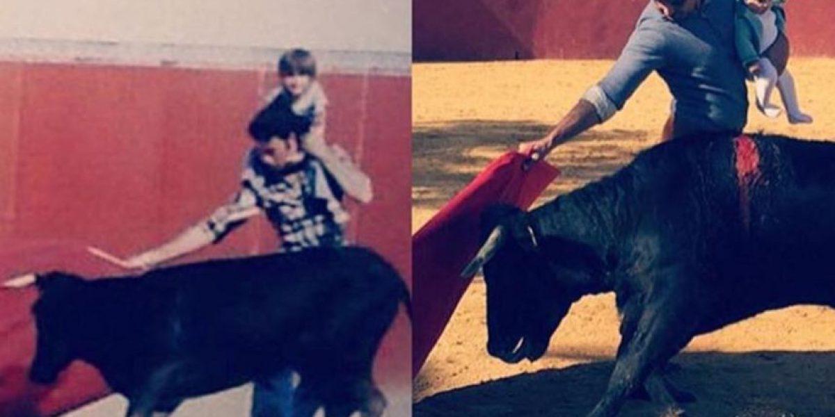 Torero español practica con bebe en brazos y escandaliza las redes