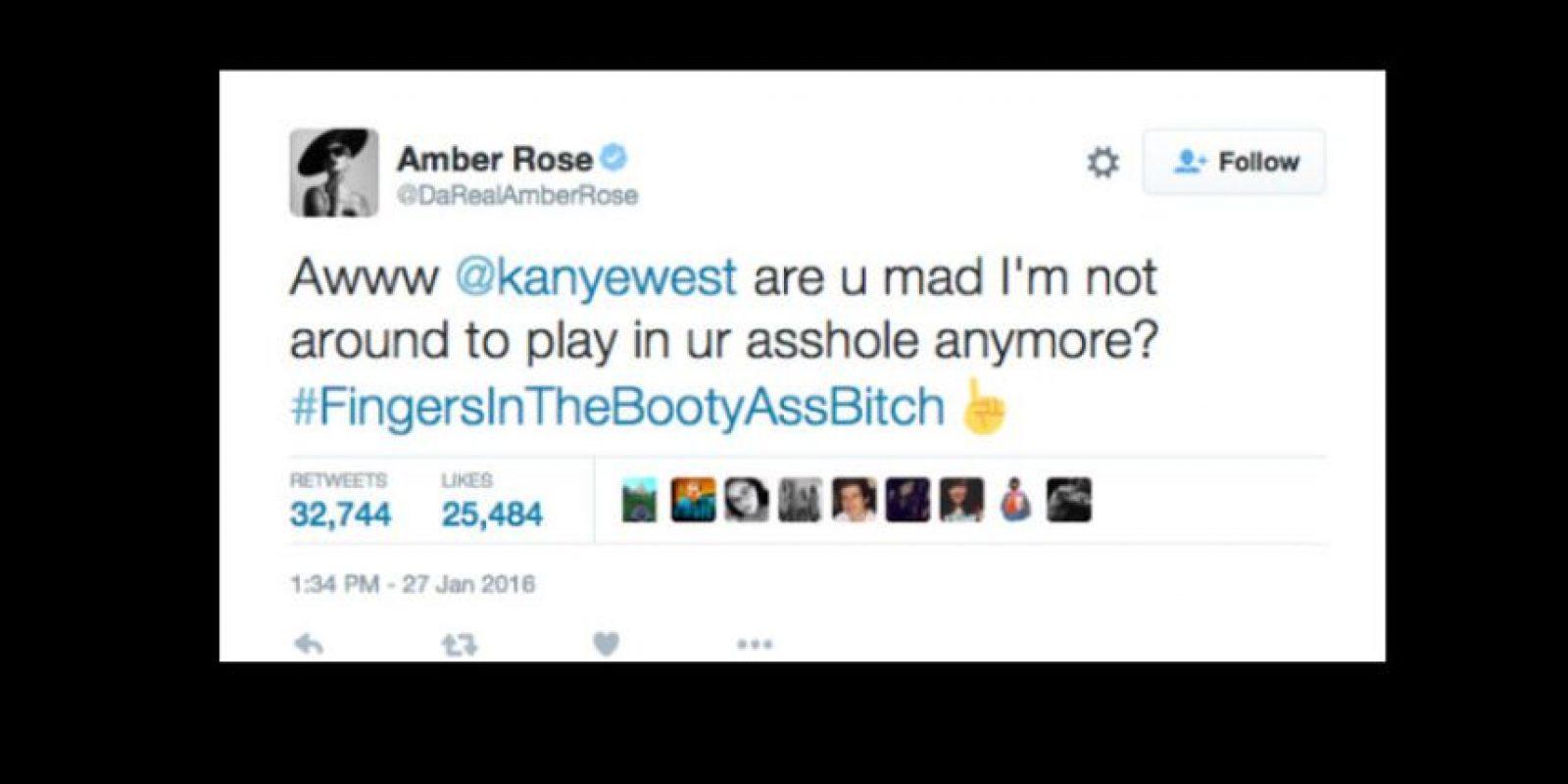 """Amber Rose, su ex y también de Whiz Khalifa, le dijo que si estaba loco """"porque no estaba jugando con su trasero otra vez"""". Se refería a insertar un dedo en esta parte, truco erótico. Foto:vía Twitter"""