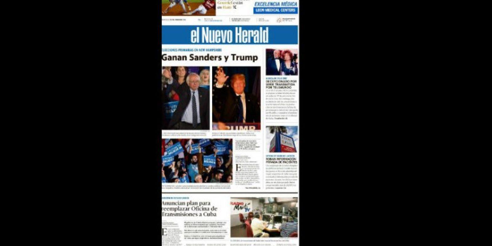 Así lucen las portadas de los diarios en Estados Unidos Foto:Nuevo Herald