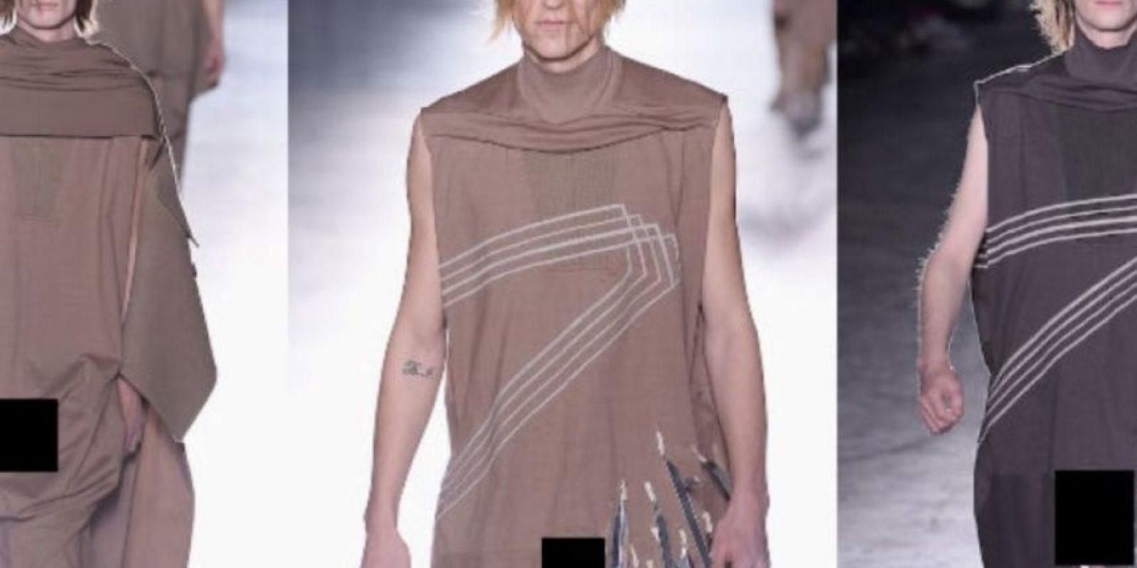 Los diseños de Rick estaban confeccionados para usarse con la parte de arriba hacia abajo, de esta manera algunas prendas dejaban un orificio a la altura de los genitales. Foto:Getty Images