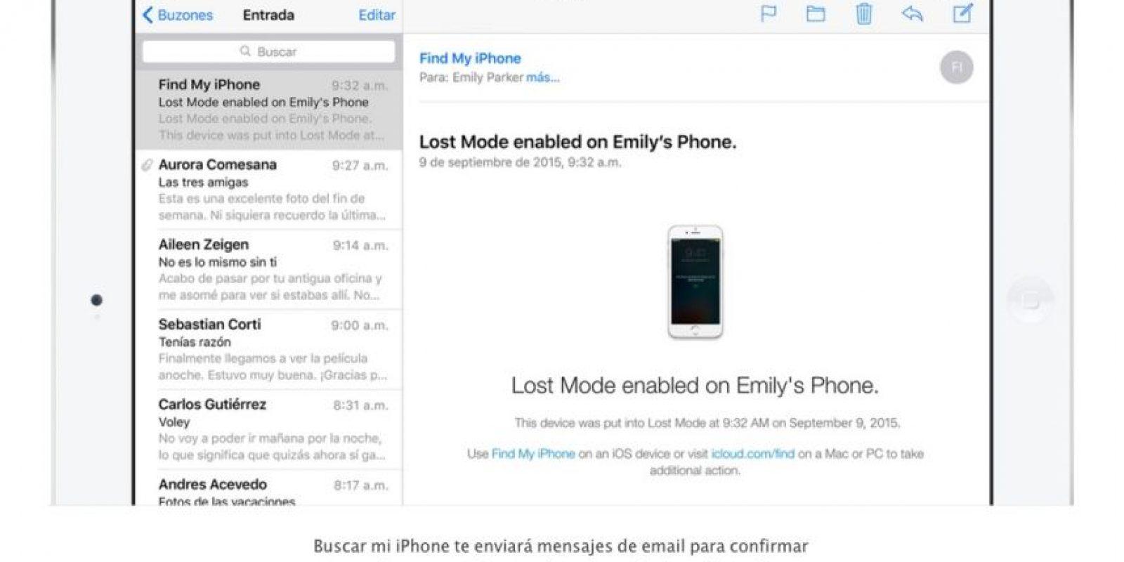 """""""Buscar mi iPhone"""" les envía un correo electrónico para notificarles sobre el estado de su dispositivo. Foto:Apple"""