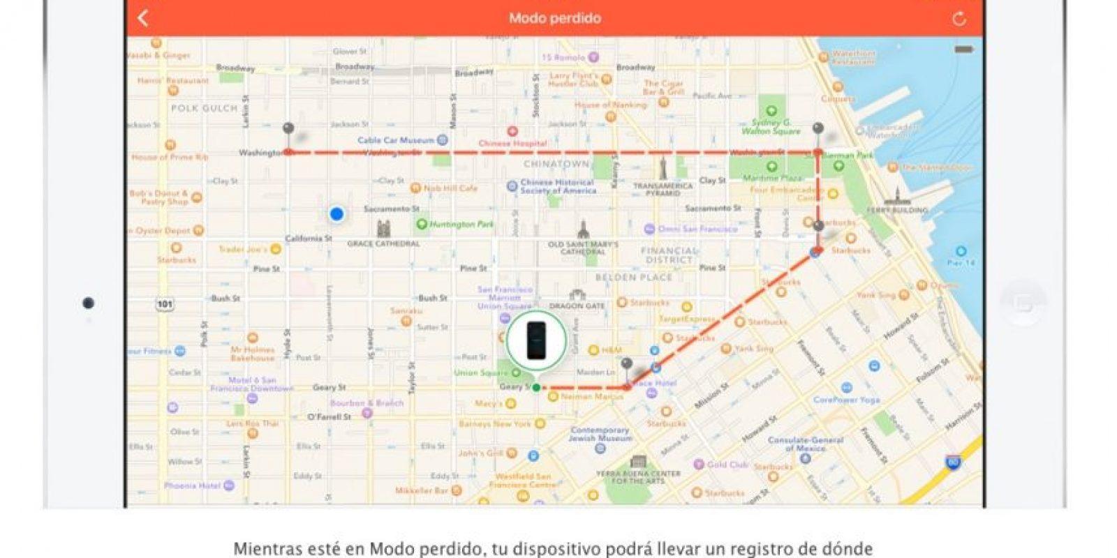 """Con el """"Modo perdido"""", podrán saber dónde ha estado su dispositivo en las últimas 24 horas. Foto:Apple"""