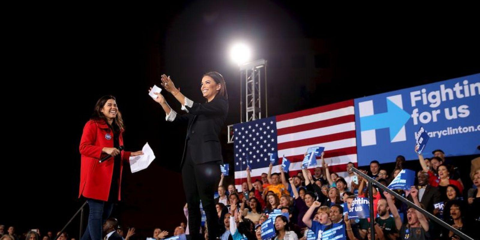 """Eva Longoria. Recientemente se unió a la campaña de Clinton para ayudarla a conseguir el voto latino en un evento realizado en Las Vegas. """"Ella es la persona más cualificada para dirigir este país"""", dijo. Foto:Getty Images"""