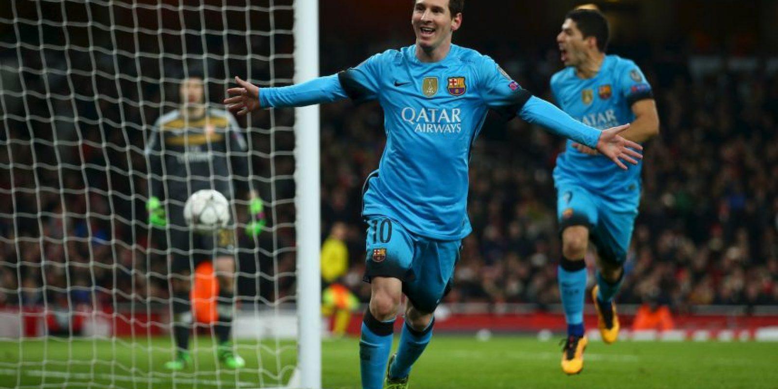 Lionel Messi marcó un doblete al Arsenal en el partido de ida de los octavos de final de la Championes Foto:Getty Images