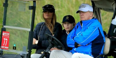 Y tuvo a su hijo Barron Trump. Foto: Getty Images