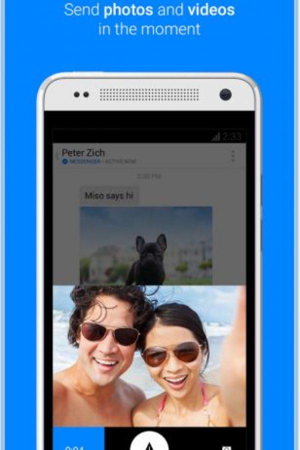También es posible enviar fotos almacenadas en el celular o tomarlas en ese momento. Foto:Play Store
