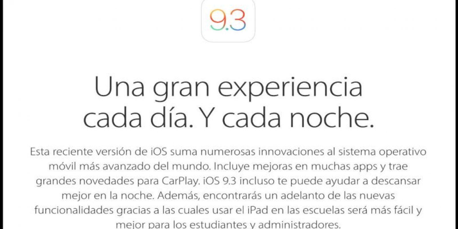 En días pasados Apple presentó el nuevo iOS 9.3. Foto:Apple