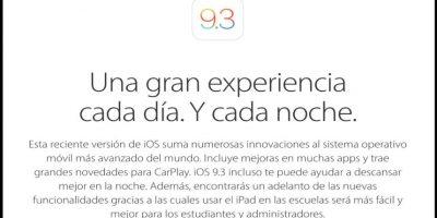 Como respuesta, Apple liberó una actualización: iOS 9.3.1. Foto:Apple