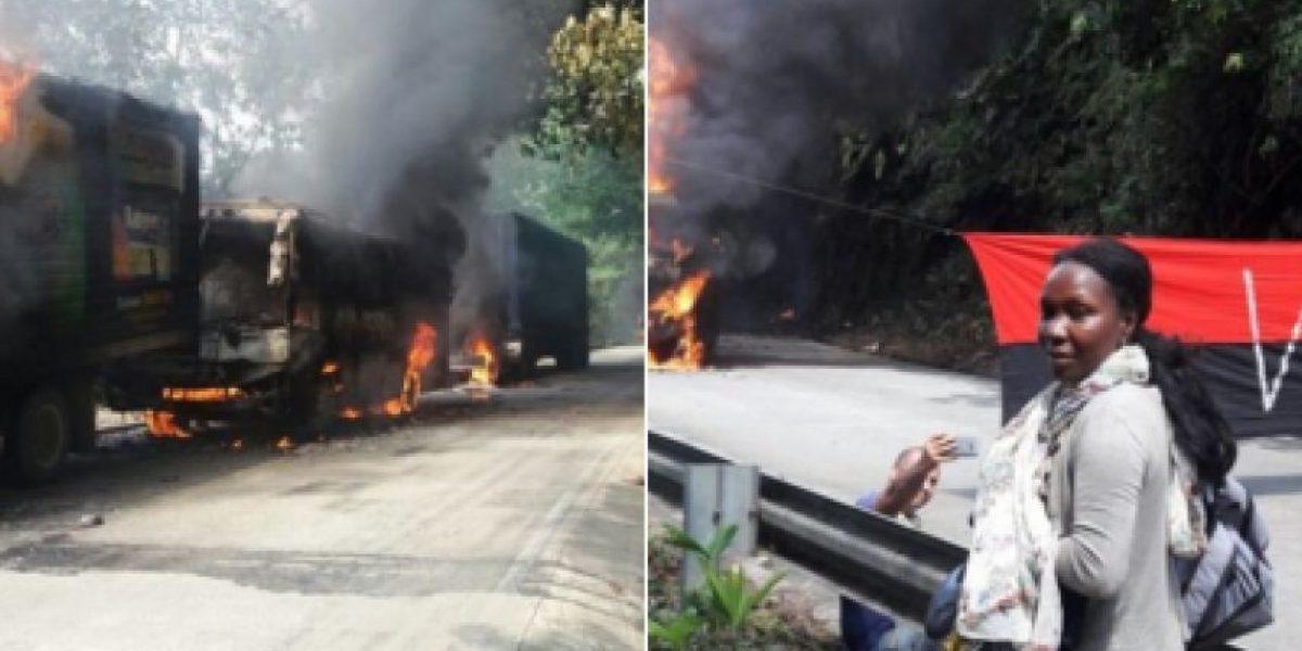 Con banderas del Eln aparecen varios vehículos quemados en Chocó