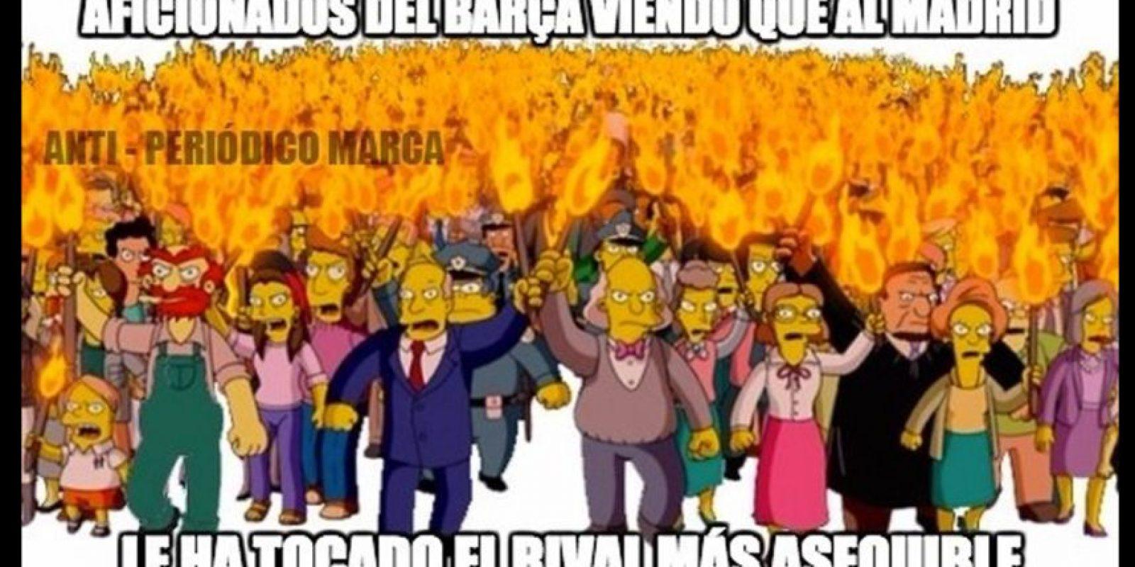 Y a los hinchas del Barcelona tampoco les pareció bien el emparejamiento del Madrid. Foto:memedeportes.com