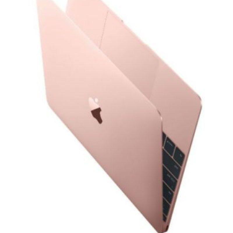 Así se ve la Macbook en tono rosa dorado. Foto:Apple