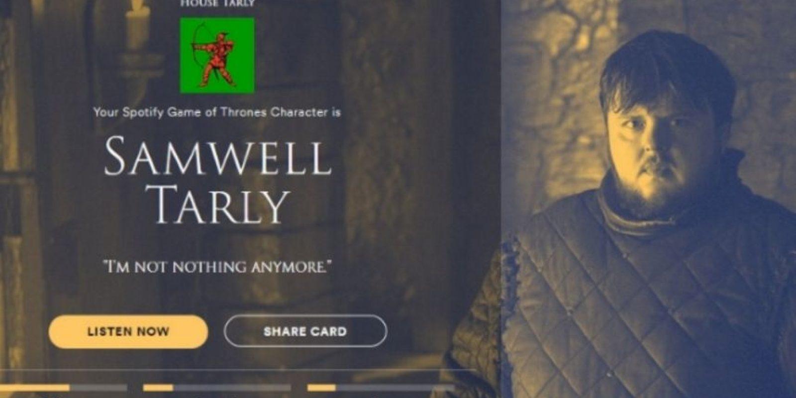 Personaje: Samwell Tarly. Foto:Spotify