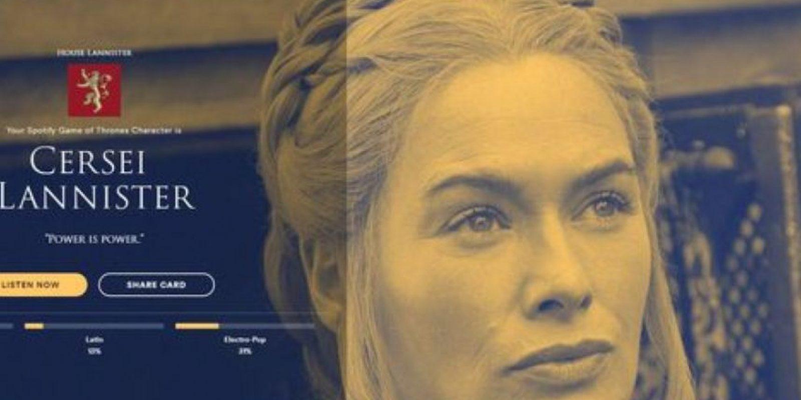 Personaje: Cersei Lannister. Foto:Spotify
