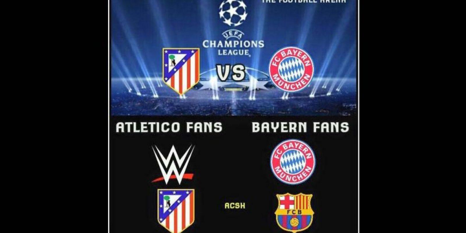 """El Atlético fue comparado con la WWE por lo """"aguerridos"""" de sus jugadores. Foto:Vía twitter.com/trollfootball"""