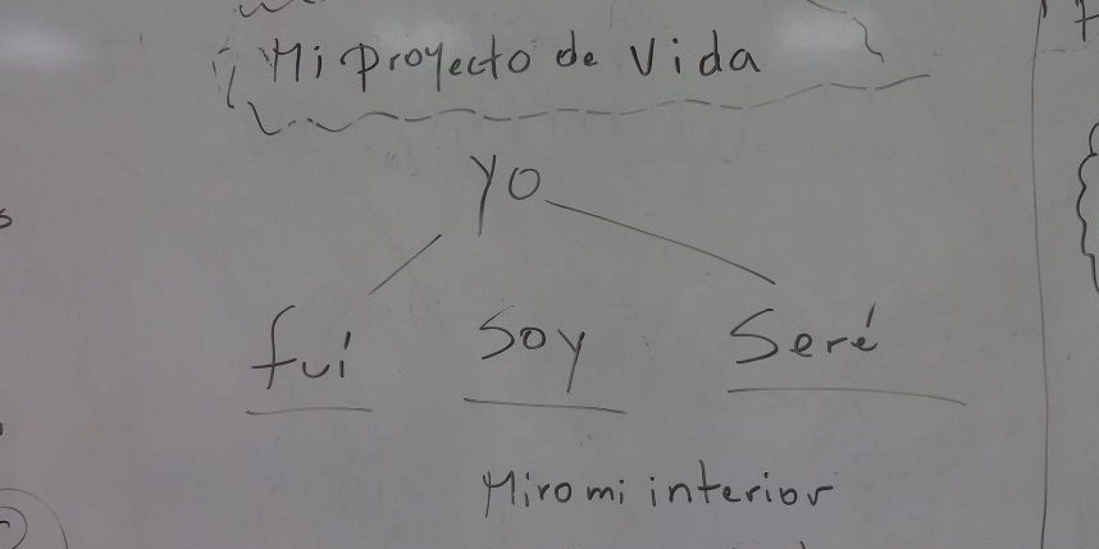 Mensaje en el tablero del aula