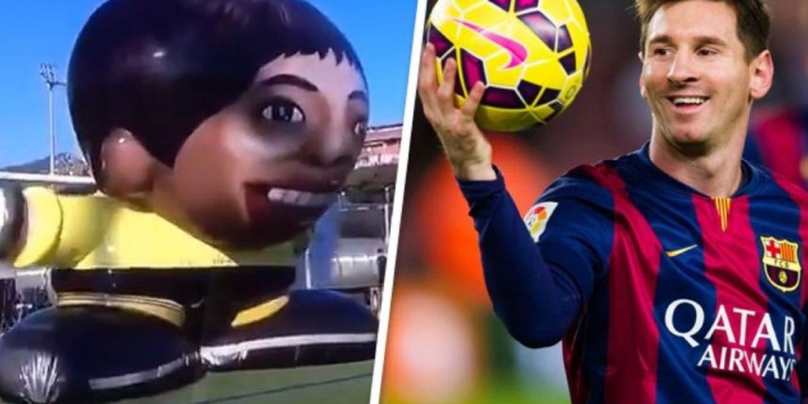 El último reto de Lionel Messi fue ante un portero gigante Foto:Twitter