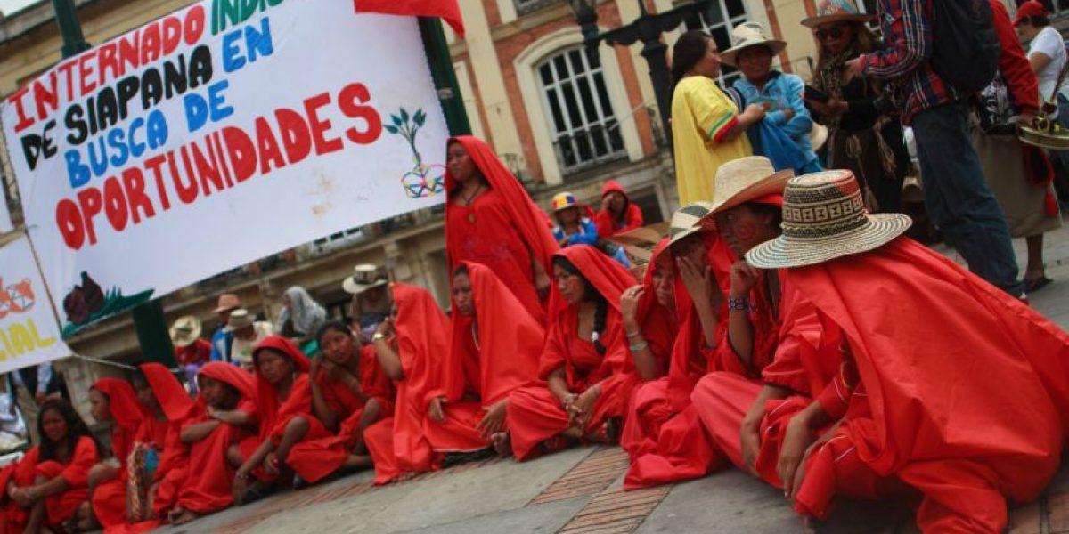 Indígenas protestaron en Bogotá por la muerte de sus niños