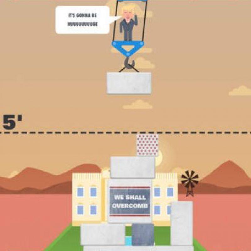 Ustedes acomodarán los bloques que caigan del andamio donde está el virtual candidato presidencial Foto:The Blu Market