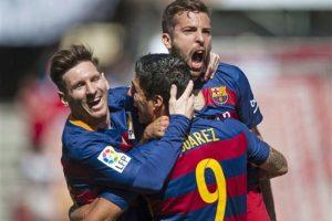 Dándole el triunfo definitivo al Barcelona por 3 a 0. Foto:AP