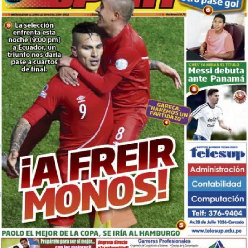La ofensiva portada de un diario peruano en la previa del partido ante Ecuador Foto:Diario Sport de Perú