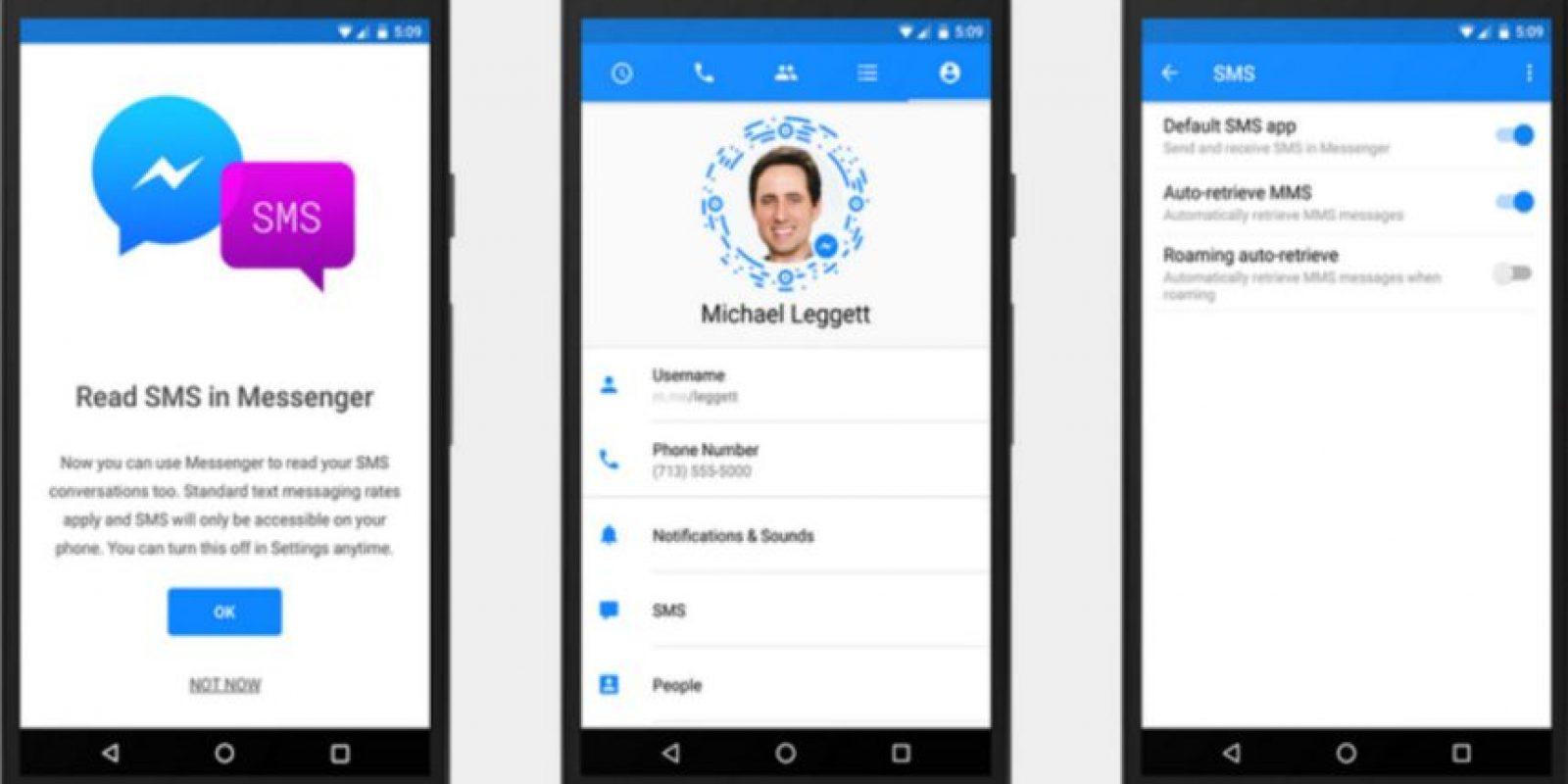 Podremos elegir si queremos usar los SMS desde Messenger o no. Foto:Messenger
