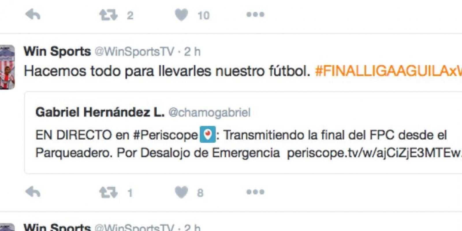 Foto:Captura de pantalla del Twitter de Win Sports