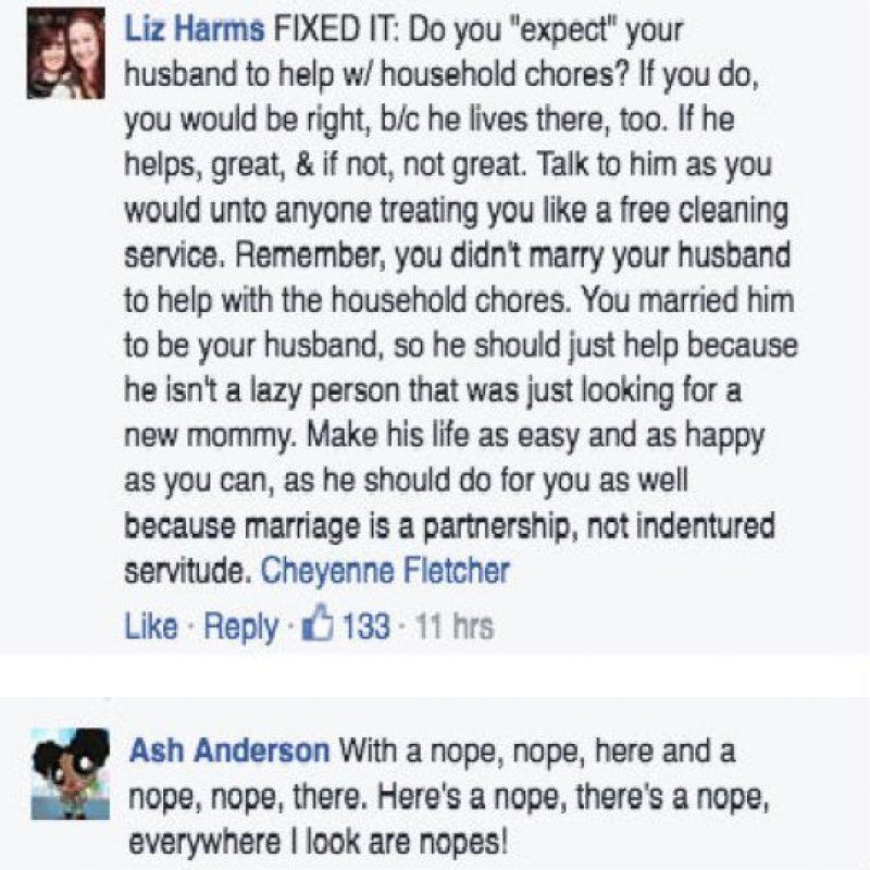 """""""Él vive ahí también. Si te ayuda, bien. Si no, no está bien""""- Foto:Facebook"""