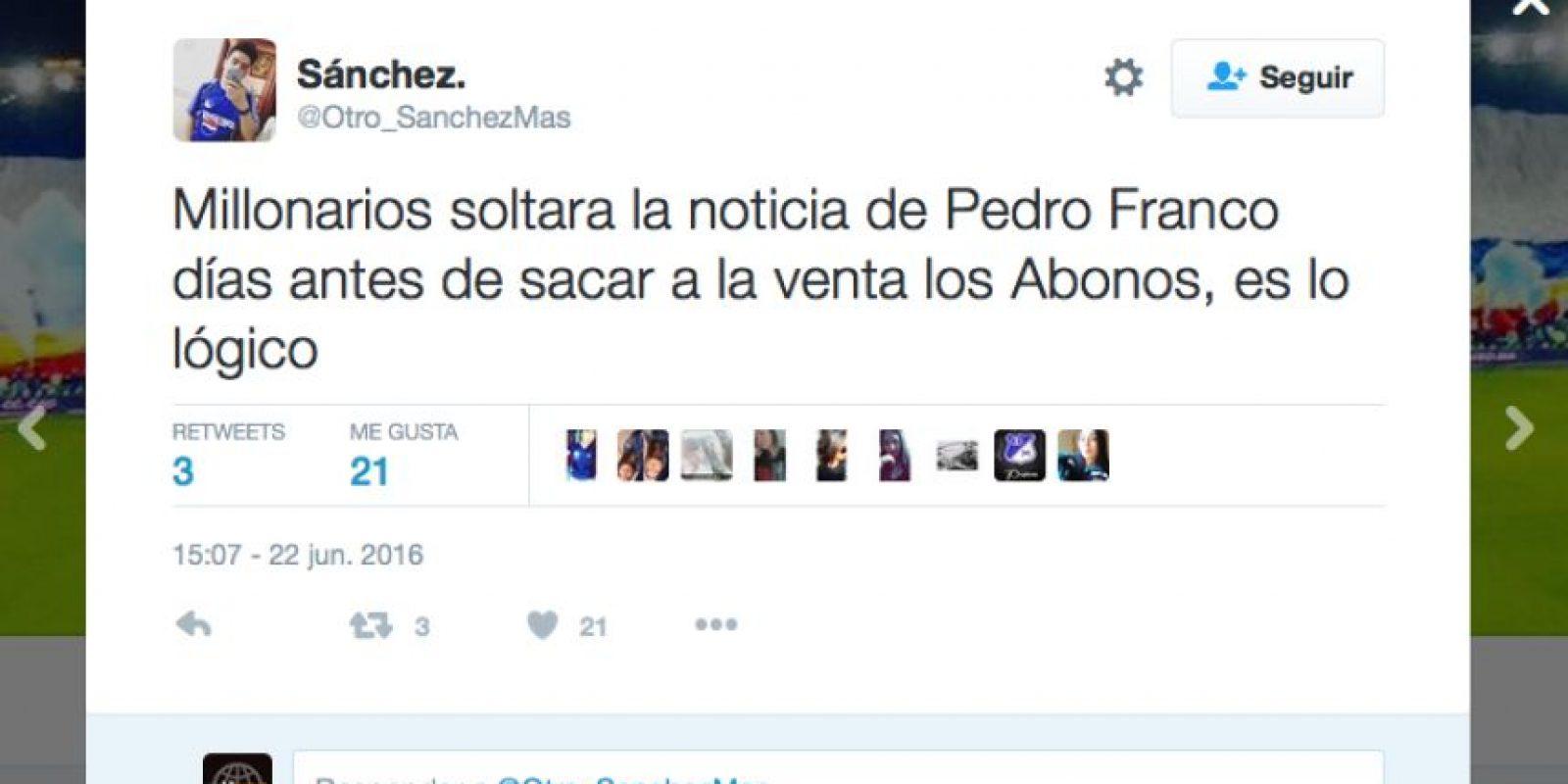 Foto:Tomado del Twitter @PedroCFranco