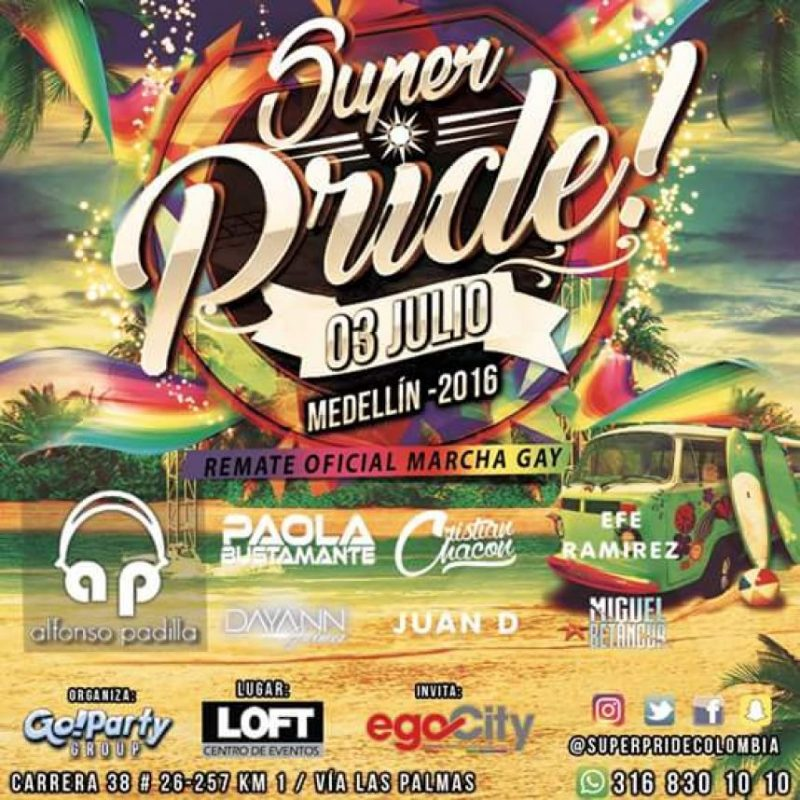 'Super Pride' la fiesta de remate de la marcha del orgullo gay en Loft centro de eventos. Foto:Cortesía Loft centro de eventos