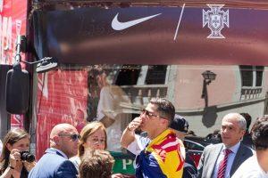 Cristiano Ronaldo lideró los festejos y dio el discurso de celebración, donde realizó su tradicional grito de guerra Foto:Getty Images