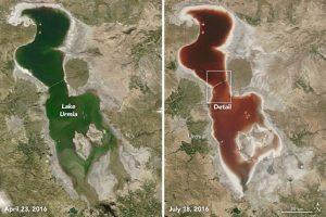 ¿Cómo desapareció el agua del lago Urmía? Foto:NASA