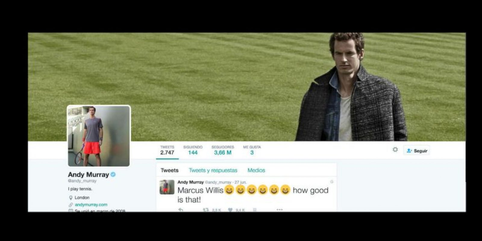 9. Andy Murray (@andy_murray) – 3.66 millones de seguidores Foto: Twitter