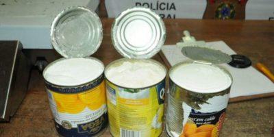 Diferentes tipos de conservas como sardinas, durazno, verduras han sido utilizados por los narcotraficantes para llevar la droga en encomiendas o maletas. Foto:Policía de Costa Rica