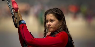 Gisela Pulido conquistó su primer título mundial de kitesurf a los 10 años Foto:Getty Images