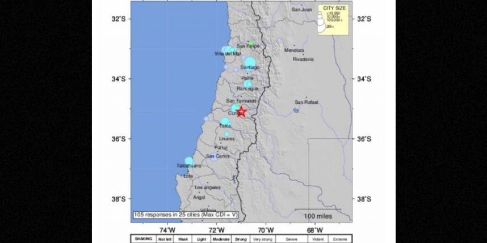 El temblor tuvo una magnitud 6.4 Foto:USGS