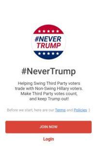 La aplicación se llama #NeverTrump Foto:#NeverTrump app