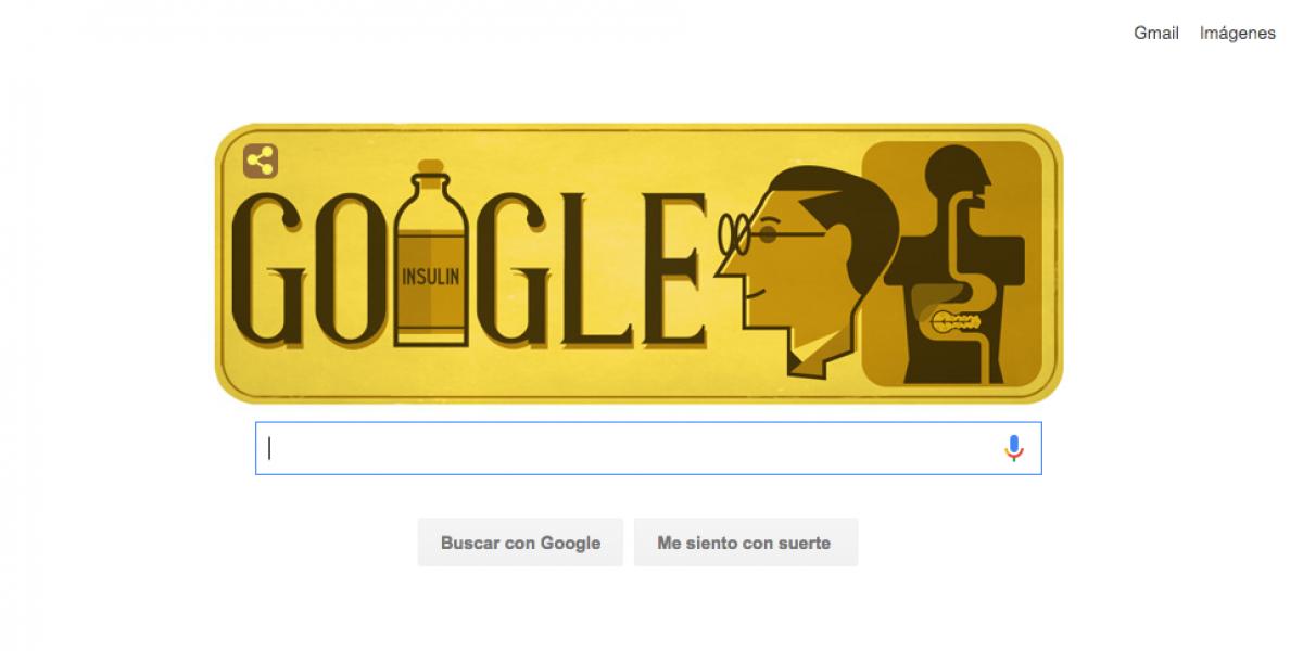 Frederick Banting, el descubridor de la insulina, en el Doodle de Google