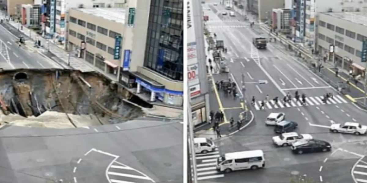 ¡Pero qué eficiencia! Japoneses repararon socavón en apenas una semana