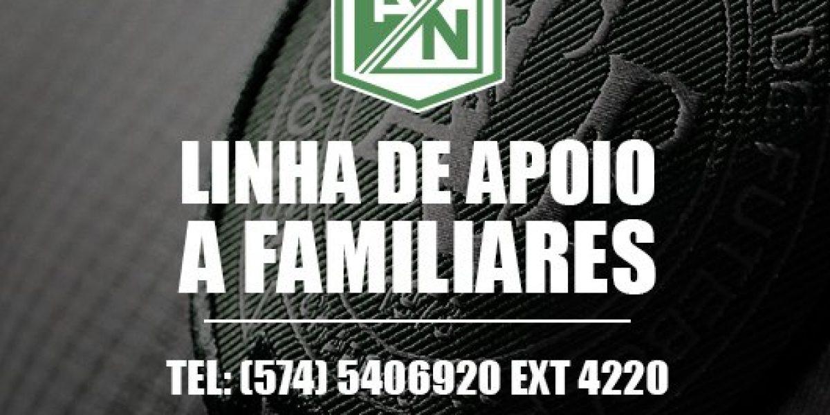 Habilitan línea de apoyo para familiares de víctimas de vuelo de Chapecoense