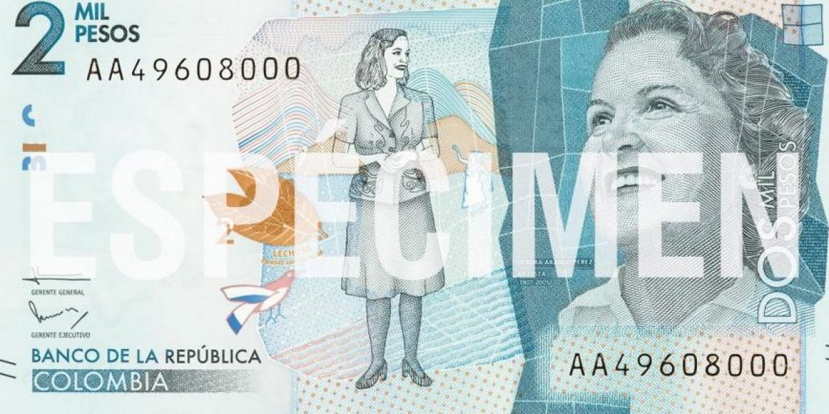 Artista Débora Arango, reina de nuevos billetes de 2.000 pesos colombianos