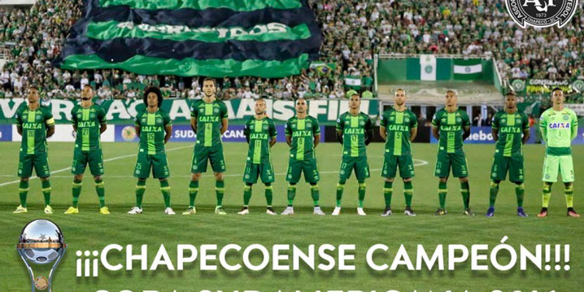 Conmebol declara a Chapecoense campeón de la Copa Sudamericana