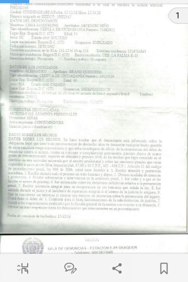 Denuncia en contra del exjugador Alejandro Brand. Imagen Por: Cortesía