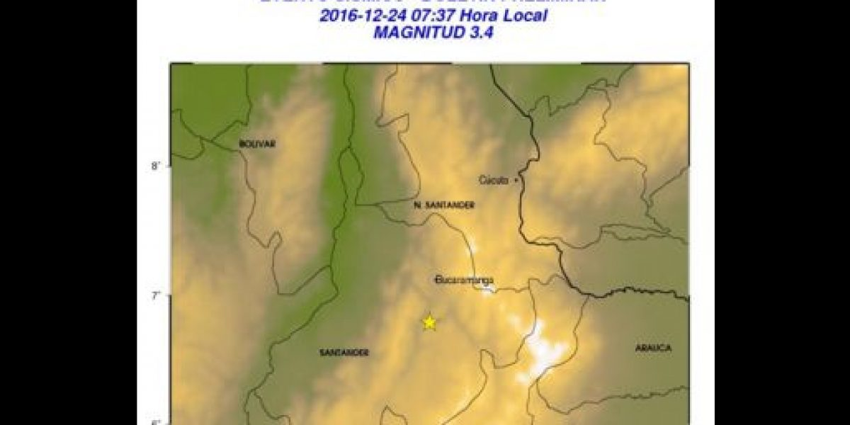 Dos sismos de mediana intensidad se presentaron en Santander
