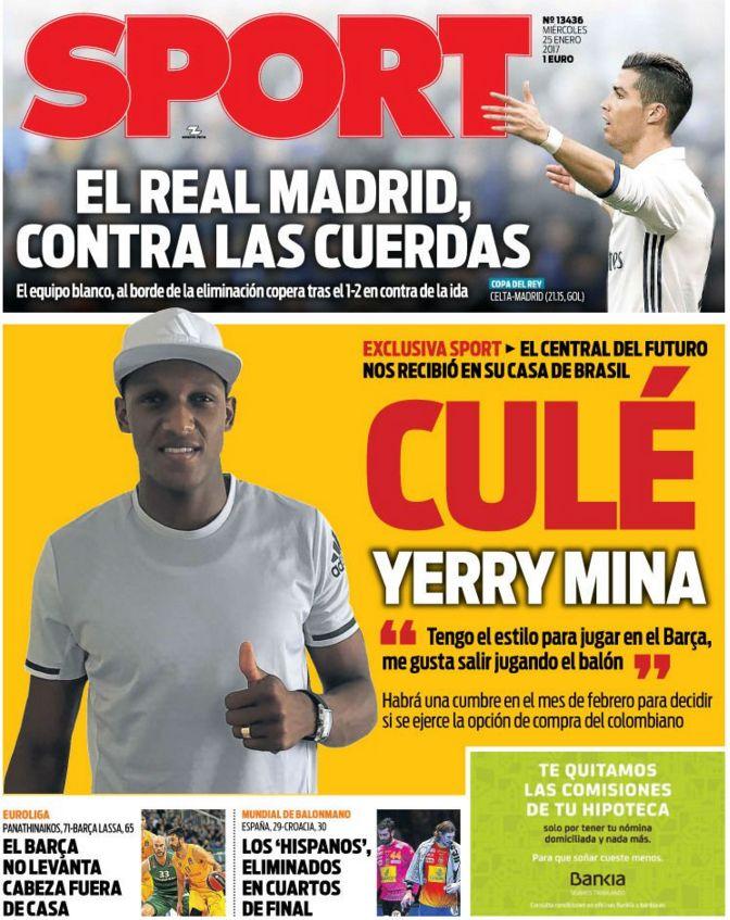 Yerry Mina es portada del Diario Sport de Barcelona