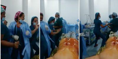 Indigna video de enfermeras bailando junto mujer desnuda