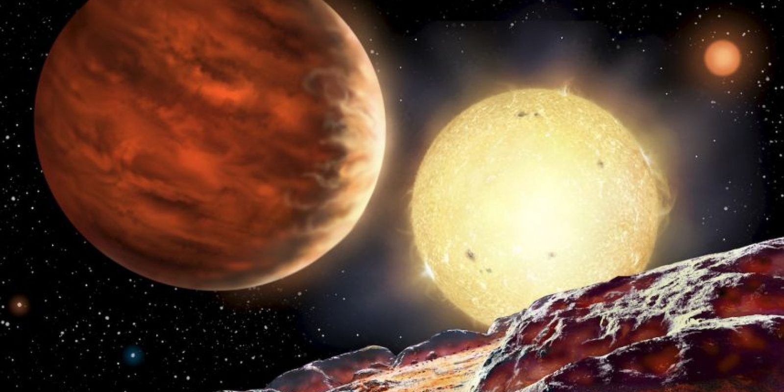 mpresión artística del planeta de Tom Wagg, WASP-142b, en órbita alrededor de su estrella, WASP-142. El planeta se representa como se ve desde una luna hipotética. Una segunda estrella, más tenue se ve en el fondo. Al ser 1000 años luz de distancia, el planeta es demasiado lejos para obtener una imagen directa. Foto: David A. Hardy