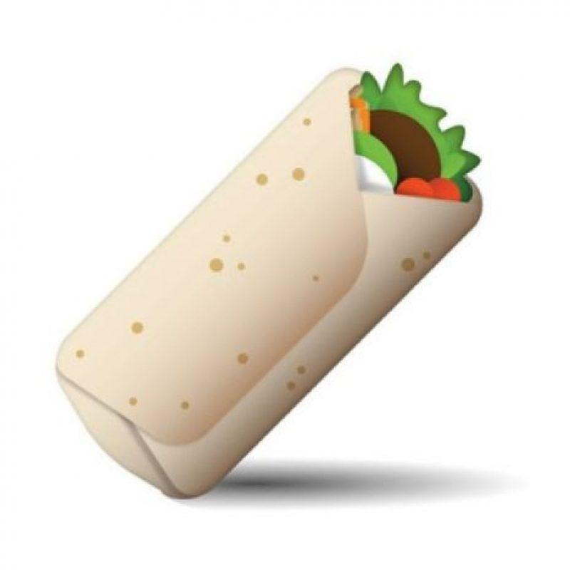 Burrito – Comida con una base de tortilla de harina y rellena con carne asada y frijoles. Foto:emojipedia.org